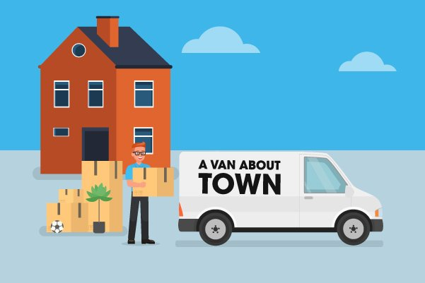 Illustration of small home removal service by A Van About Town