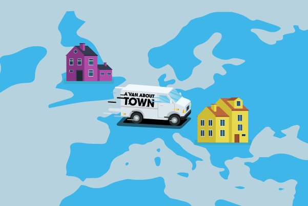 Illustration of international home removal service by A Van About Town