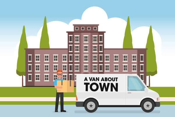 Illustration of home removal services for students by A Van About Town